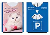 Fun Spaß Motiv Parkscheibe mit Eiskratzer und Gummilippe süße Katze
