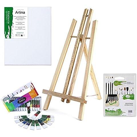 Artina® - Set de pintura para niños London - Caballete de mesa (pino), pintura acrílica, pinceles y
