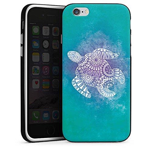Apple iPhone SE Tasche Hülle Flip Case Mandala Turtle Schildkröte Muster Silikon Case schwarz / weiß