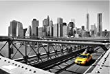 Zopix Poster New York Taxi Schwarz-Weiß Stadt Wandbild - Premium (45x30 cm, Versch. Größen) - Leinwand Alternative - Inklusive Poster-Stripes