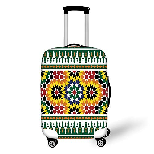 Travel Luggage Cover Suitcase Protector,Moroccan,Vibrant Old Fashion Indie African Tribal Pattern with Eastern Influences Print,Green Yellow,for Travels 19x27.5Inch