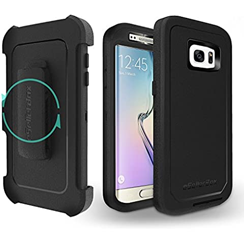 Galaxy S7 Edge Case, eSellerBox Heavy Duty Full-body Rugged Stand Holster Hybrid Dual Layer Protective Case Cover for Samsung Galaxy S7