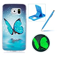 For Samsung Galaxy S6 Silicone Case,Herzzer Creative Unique Stylish [Moonlight Butterfly] Drawing Pattern [Night Luminous] Effect Fluorescent Glow In The Dark Ultra Slim Soft Silicone Gel TPU Rubber Back Cover for Samsung Galaxy S6 + 1 x Free Blue Cellphone Kickstand + 1 x Free Blue Stylus Pen