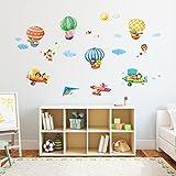 Decowall DAT-1406B1506B Heißluftballons Doppeldecker Autos Flugzeuge Tiere Wandtattoo Wandsticker Wandaufkleber Wanddeko für Wohnzimmer Schlafzimmer Kinderzimmer