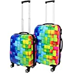 Trolley-Kofferset Ultra-Light mit 4 Rollen, 2tlg. Farbe Neon Square