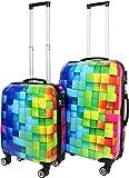 ABS Hartschalen Kofferset mit Motiv Farbe Neon Square Größe 2er