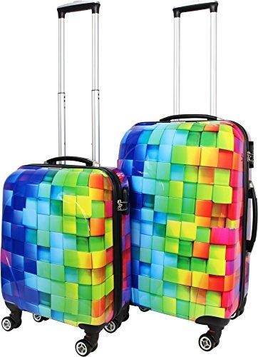ABS Hartschalen Kofferset mit Leichtlaufrollen verschiedenen Motiven Farbe Neon Square