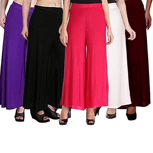 Klugger Soft Lycra Palazzo wide elastic waistband Pants combo (pack-5) Free Size...