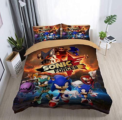 3D Gedruckt Igel Sonic Bettbezug-Set 3 Stück, Bettbezug Bettwäsche Set 2 x Kissenbezüge 1 x Steppdecke Fall zum Single Doppelt König Größe Bett,B,Full - König 3 Stück Bettbezug
