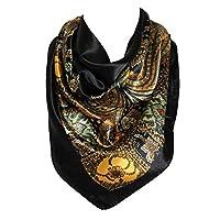 Bloemmotief Bandana Sjaal Zijden Satijn Vierkante Hals Hoofdomslag (Zwart)