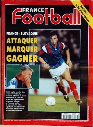 FRANCE FOOTBALL [No 2559] du 25/04/1995 - PARIS-SG - FRANCE - SLOVAQUIE - DAVID GINOLA - AIME JACQUET.