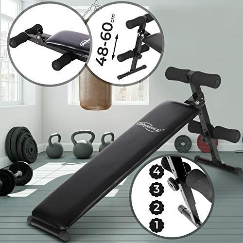 Physionics Sit-Up-Bank mit Beinfixierung | Klappbar, 48-60cm (4-Fach) Höhenverstellbar, aus Stahl | Bauchtrainer, Trainingsbank, Rückentrainer