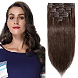 Rajout Cheveux Clip Naturel [Epaisseur Standard] 10'/25CM 8 Bandes à 18 Clips Hair Extension Naturel Cheveux Tombent/S'emmêlent Pas - 04#Marron Chocolat