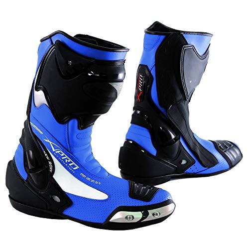 A-Pro Stivale Scarpa Calzatura Pelle Moto Race Racing Sport Pista Tecnico Blu 41
