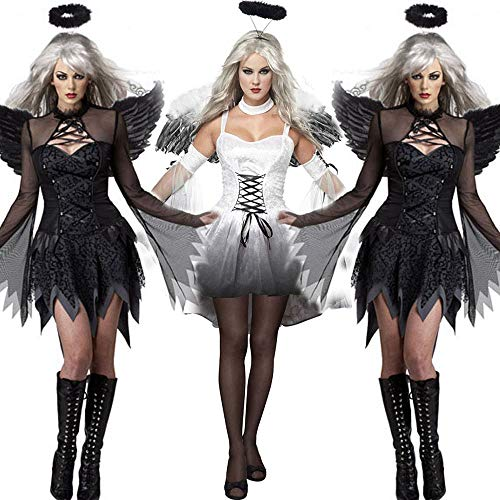 希倍朦 Dame Halloween Sexy Dark Angel Kostüm Spiel Uniform (Color : White, Size : ()