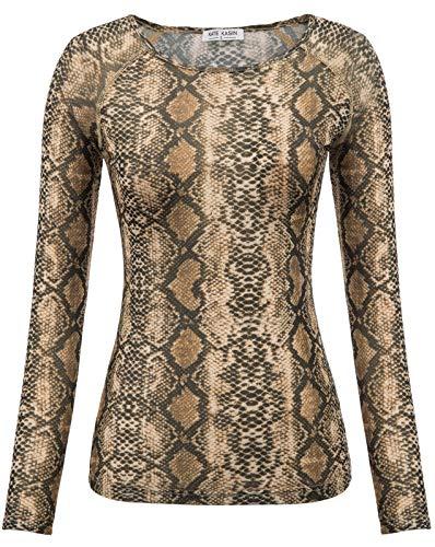 Pattern-damen-top (Stylish See Through T-Shirts Top Unregelmäßiger Rand Lange Bluse Clubwear Snake Pattern 1278 Medium)