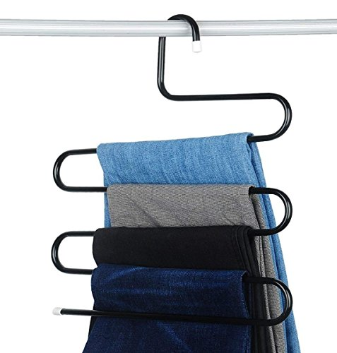 Brander- Premium Quality Metal S-Shape 5 Layers Magic Hanger for Wardrobe