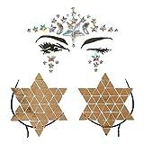 BESTOYARD Strass Gesicht Brust Tattoos für Frau Halloween Party (Golden)