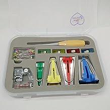Juego de herramientas para hacer tiras de tela para costura en 4tamaños 6mm/12mm/18mm/25mm marca Honeysew, Blue/Green/Red/Yellow, BTM