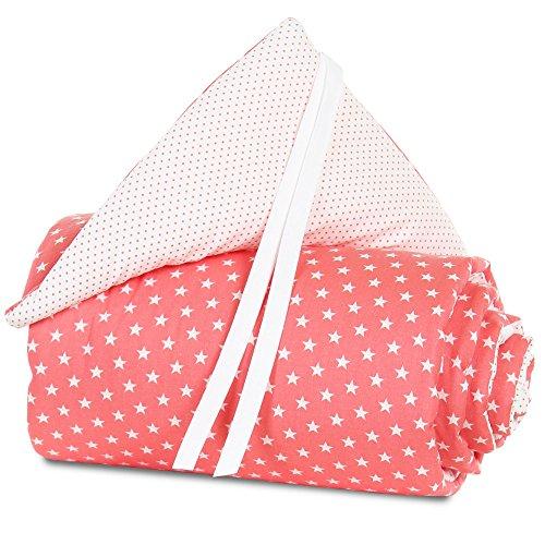 babybay Nestchen Organic Cotton für Maxi, Boxspring und Comfort, pfirsich Sterne weiß