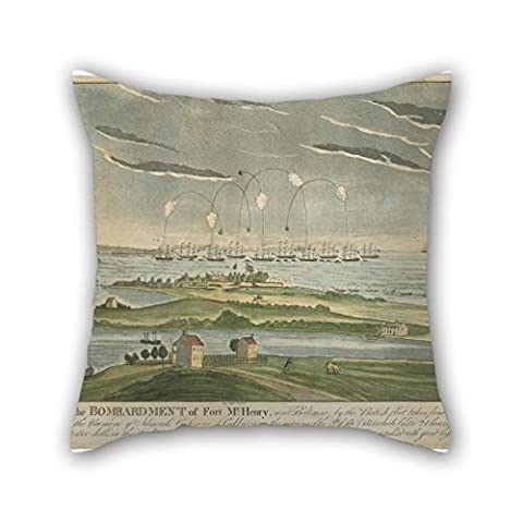 uloveme Kissenbezug John Bower–A View von der Bombardierung von Fort McHenry 45,7x 45,7cm/45von 45cm, beste Passform für Salons, Jugendliche Mädchen, Arbeitszimmer, Sohn, Teens 2Seiten