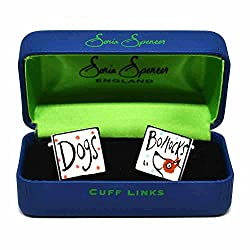 Dogs Bollocks Cufflinks by Sonia Spencer, in Presentation Gift Box. Hand painted from Sonia Spencer