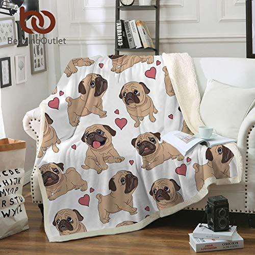 MegOK BedOutlet Hippie Mops Sherpa Decke auf Betten Tier Cartoon Plüsch Decke für Kinder Tagesdecke Bulldog Sofa Cover 1pc, 150cmx200cm