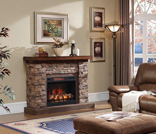 """Classic Flame Elektrischer Kamin mit einem Stein-Dekor Modell Stones LED 3D 28"""" Zoll Flamenkammer"""