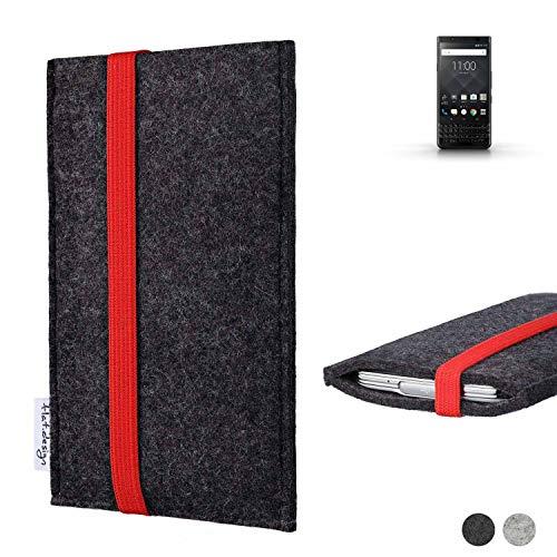 flat.design Handy Tasche Coimbra für BlackBerry KEYone Black Edition passgenau Filz Schutz Hülle Case anthrazit rot fair