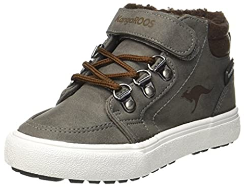 KangaROOS Nery, Baskets Hautes Mixte Enfant, Grau (Steel Grey/Saddle Brown), 32 EU