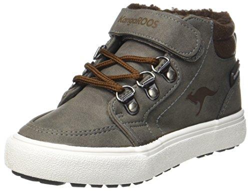 KangaROOS Unisex-Kinder Nery Hohe Sneaker, Grau (Steel Grey/Saddle Brown), 35 EU