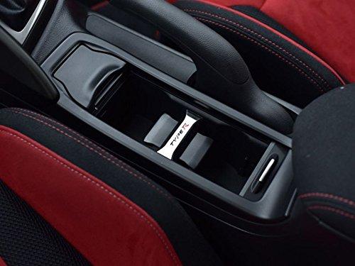 Dekor Emblem zwischen Becherhaltern Stahlabdeckung für Civic Type R IV FK2-1 Stück Kreisscheibe Platte Edelstahl Gebürstet Blenden Cockpit Dekor Mass Angefertigt (2015-honda Civic-zubehör)