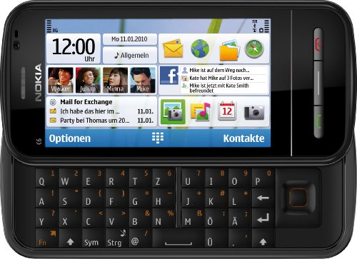 Nokia C6-00 Handy (8,1 cm (3,2 Zoll) Touchscreen, 5 Megapixel Kamera, QWERTY) schwarz