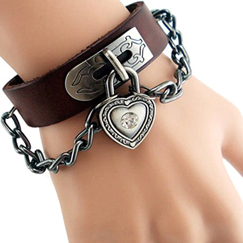 Cool Fashion verstellbar Druck Lock Street Rock Punk mehrschichtige Armband Leder (Kostüme Cool Boy)