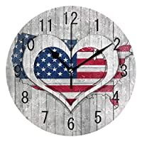 Use7 Home Decor American Flag Map Wooden Love Heart Round Acrylic Wall Clock Non Ticking Silent Clock Art for Living Room Kitchen Bedroom