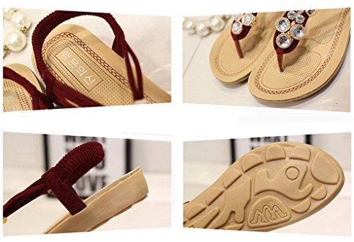 NEWZCERS Sommer-Frauen reine Farbe Rhinestones strappy Sandalen Rot