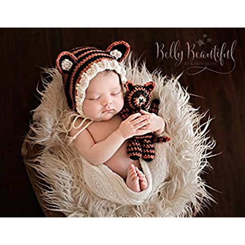 Tiger Bonnet and Stuffie Set Crochet Pattern - Sizes Newborn Baby Through Toddler 1-3 Years Included (English