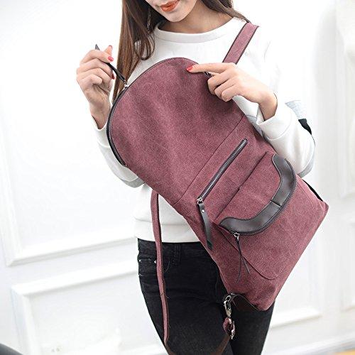 BYD - Donna Uomo Unisex School Bag zainetto backpack Travel Bag Canvas Bag Double Zipper Design Borse a mano Borse a spalla with Mutil Function Pocket Viola