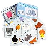 Gobus 32 stücke Flash Cards Erkenntnis Puzzle Karten Form Passenden Puzzle Früherziehung Karte Lernspielzeug in Einer Box (Nette Tiere)
