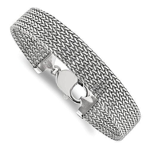 Sterling Silver Rhodium Plated Mesh Bracelet - 7.5 Inch (Rhodium-mesh-armband)