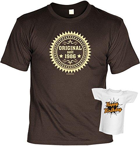 Original seit 1986 : Geburtstags/Fun/Spaß-Shirt-Set inkl. Mini-Shirt/Flaschendeko - geniale Geschenkidee Braun