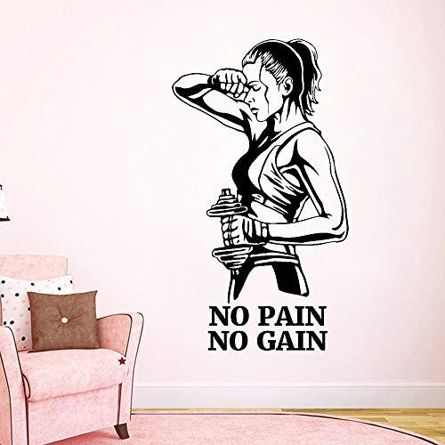 Zhuhuimin Gym Wandtattoo schmerzlos kein Gewinn Fitness Vinyl Aufkleber Motivation Zitat Kunst Wand Raumdekoration Selbstklebende Gummi Zug Poster 1 42x74 cm