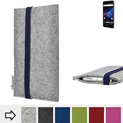 flat.design Handy Hülle Coimbra für Phicomm Passion 4 - Schutz Case Tasche Filz Made in Germany hellgrau blau