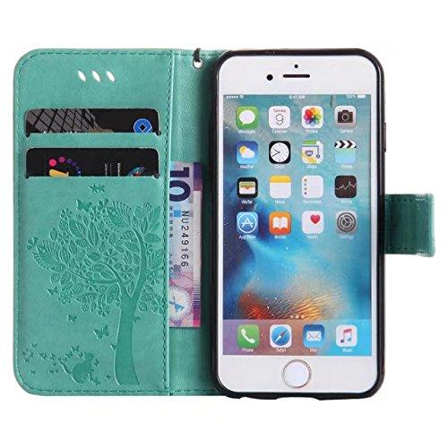 DaYiYang Case Cover IPhone 6 6s Kasten, Normallack-erstklassiger PU-lederner Fall-prägenmuster-Schlag-Standplatz-Fall-Abdeckung mit Karten- und Bargeldschlitzen für iPhone 6 6s 4,7 Zoll ( Color : Rose Green