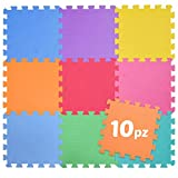 BAKAJI Tappeto Puzzle Colorato in Morbida Gomma Eva Resistente, Isolante, Lavabile, Tappetino da Gioco per Bambini Dimensione Tassello 30 x 30 cm (10 pz full color)