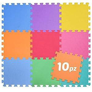 BAKAJI - Alfombra Puzzle de Colores de Goma EVA Suave, Resistente, Aislante, Lavable, Alfombra de Juegos para niños, tamaño del Taco 30 x 30 cm (10 Unidades de Colores completos)