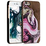 kwmobile Coque Apple iPhone 6 / 6S - Étui de Protection Rigide en Bois pour Apple iPhone 6 / 6S - Fuchsia-Violet-Marron