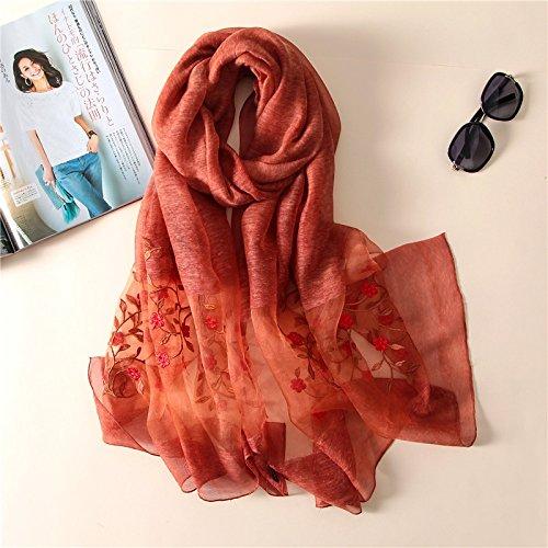H-M-STUDIO Schal Elegante Seide Reine Mode Farbe Schal Mode Bestickt Dual-Zweck-Schal Rusty Rot 190 * 85Cm