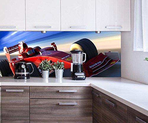 wandmotiv24 Cocina Pared Trasera Ferrari en acción Design M0376 160 x 60 cm (W x H) - 3 mm de Aluminio