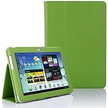 Custodia eco pelle per Samsung Galaxy Tab 2 10.1 GT P5100 P5110 Portfolio Tablet Custodia slim Book Cover Case integrale Verde più Pennino e Pellicola Omaggio